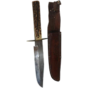 Vintage stag handle German Bowie knife and sheath  13 inches long and neat