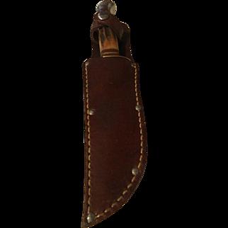 Vintage German stag handle Buffalo Skinner & sheath Bower no 45