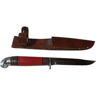 Vintage Red handle western field hunting knife & sheath