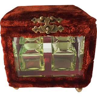 Antique Victorian Velvet Perfume Casket with Vaseline Glass Bottles