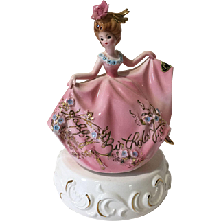 Vintage Josef Music Box Girl Figurine