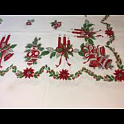 """Vintage Christmas Tablecloth 60""""x80"""""""