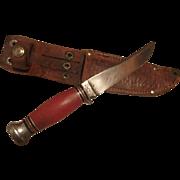 Vintage Remington hunting knife and sheath RH - 74 Remington red handle