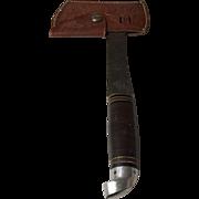 Vintage Western Boulder,Colorado flat camp ax or hatchet in oak leaf leather sheath