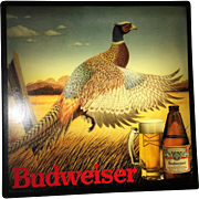 Vintage Budweiser Beer Rooster Pheasant lighted wall bar picture Man's Cave
