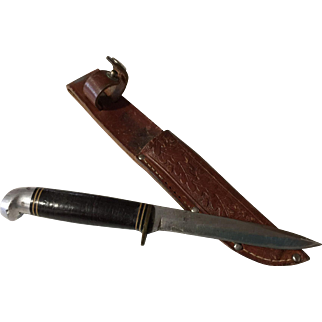 Vintage Western leather handle bird or old fish knife oak leaf sheath