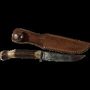 Antique Remington stag handle knife & Remington sheath stag handle number RH-75