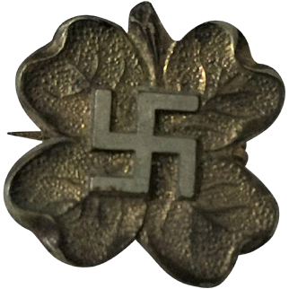 Old Leaf Pin with Swastika