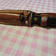 Vintage 2 knife set in sheath Utica Sportsman set & leather sheath