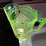Green Vaseline green depression glass pitcher fancy one