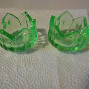 2 = Vintage green depression Glass Tulip salt dips