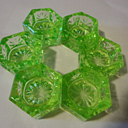 6 = Green Vaseline green  glass salt dips