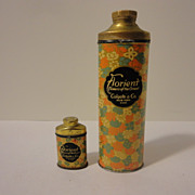 Two Antique Colgate Talcum Powder Tins Large & Sample Size