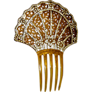 Art Deco Amber-Colored Celluloid Comb with Filigree & Rhinestones