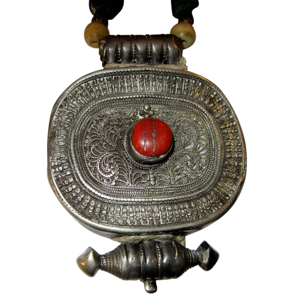 Antique Tibetan Silver Gau Necklace From