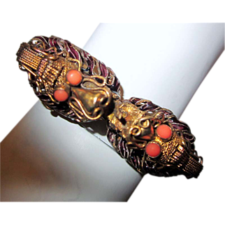 Chinese-Double Dragon Vermeil Bracelet with Enamel Work & Coral Beads