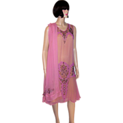 1920's Exquisite Raspberry Sorbet Beaded Gown and Matching Shawl