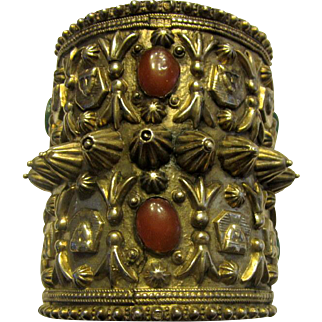 Impressive Antique Silver Ethnic Cuff Bracelet of Egyptian/Middle Eastern Origin with Carnelian and Green Onyx Stones