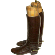 Extraordinary Men's Edwardian Brown Leather Equestrian Long Boots with Solid Nickel Spurs