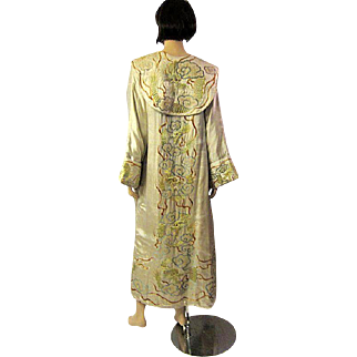 Early 20th Century Asian Hand-Embroidered Robe with Dragons