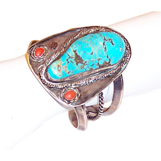 Large & Heavy, Hand-Made, American Indian Turquoise/Silver Cuff
