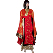 Elaborate Asian Robe with Exaggerated Butterfly Sleeves