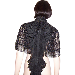 B. Altman and Company-Victorian Black Lace and  Jet Beaded Mantle, Museum Quality