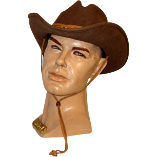 Bailey's Brown, 100% Wool Felt,  Cowboy Hat with Leather and Embroidered Trim, Size Medium