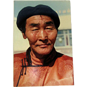 Original Colored Photograph-Ethnographic Portrait of Poised Tibetan/Mongolian Gentleman by Bernard Levere