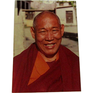 Original Colored Photograph/Ethnographic Portrait of Smiling and Affable Tibetan Buddhist Monk by Bernard Levere