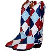 Justin Cowboy Boots, Hand Crafted in Harlequin Pattern