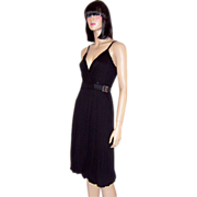 Black Sleeveless Dress with Buckle & Balloon Hem Line by Poleci