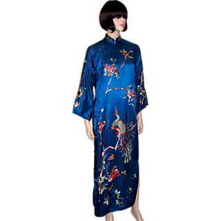 Chic Cheongsam-Teal Silk with Peacocks, Peonies, and Plum Blossoms