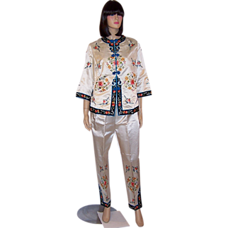 1940's White Silk Chinese Hand-Embroidered Jacket & Pants Ensemble