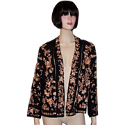 1920's Apricot and Black Silk Chinese Hand-Embroidered Jacket