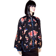 Black Silk Chinese Embroidered Jacket with Peonies