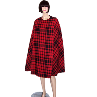 1960's Black and Red Plaid Cape and Skirt Ensemble