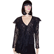 Norma Kamali Black Lace Blouse with a Deep and Wide Ruffle
