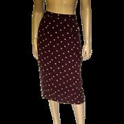 1980's DKNY Brown Silk Printed Skirt