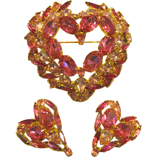"""Over-Sized and Impressive Pink Heart Brooch and Earring Suite by David Mandel, Stamped """"The Show Must Go On"""""""