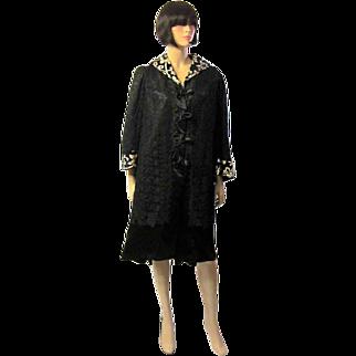 Black Satin Edwardian Coat with Black Lace Overlay