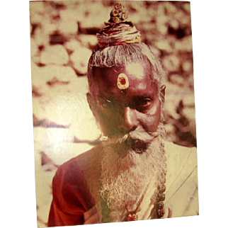 Original Colored Photograph-Ethnographic Portrait of South Asian Man by Bernard Levere