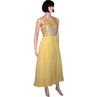 Elinor Simmons for Malcolm Starr-Yellow Beaded Chiffon Gown