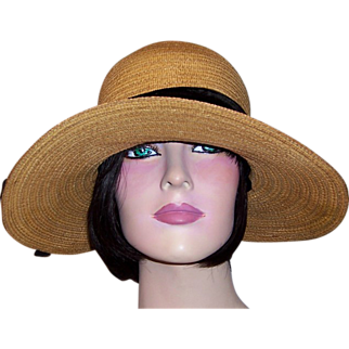 """Edwardian Natural Straw Hat with 4"""" Wide Brim"""