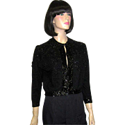 1950's Black Beaded and Sequined Evening Sweater/Cardigan