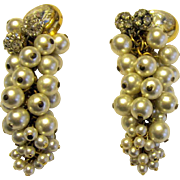 Extraordinary Pair of Faux Pearl Dangle, Clip-On Earrings