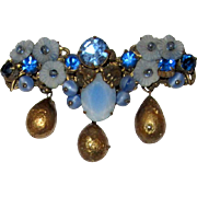 Impressive and Intricately Designed,  Blue Glass and Crystal Brooch, Unsigned, with Gold Pear-Shaped Dangling Beads