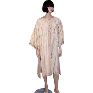 1920's Japanese Hand-Embroidered, White on White Robe