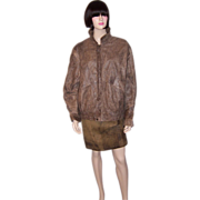 Brown Distressed Leather Jacket by Hera Pelle