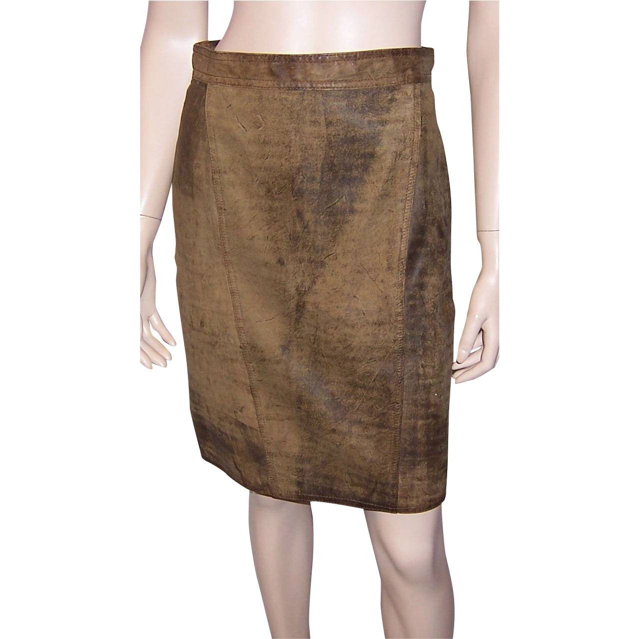 Brown Distressed Leather Skirt by Winlit